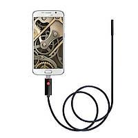 Эндоскоп c камерой: Ø7 мм 1 метр USB + OTG + зеркало для просмотра под углом, магнит. Бороскоп