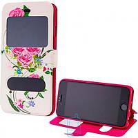 Чехол-книжка Flower Case 2 окна LG G2 Tea-rose white