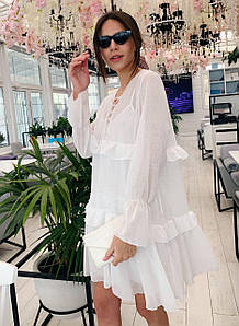 Белое шифоновое платье-двойка с оборками (р. SM, LXL)