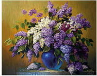 Алмазная вышивка. Алмазная мозаика 30*40 см. Сирень в синей вазе Частичная выкладка.