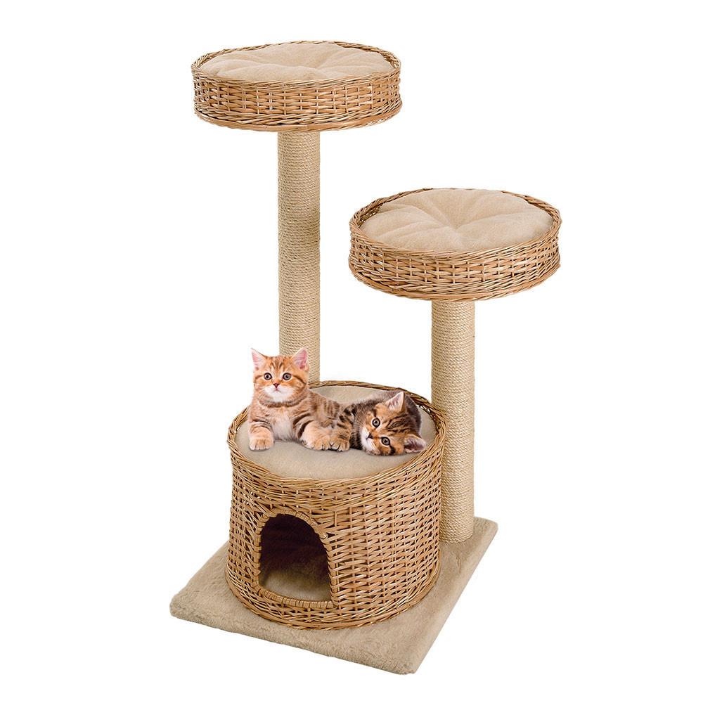 Игровой комплекс для кошек с полочками, спальным местом и колоннами из сизаля Ferplast AMIR