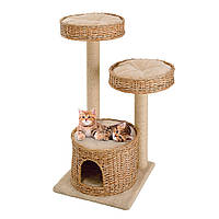 Ігровий комплекс для кішок з поличками, спальним місцем і колонами з сизалю Ferplast AMIR, фото 1