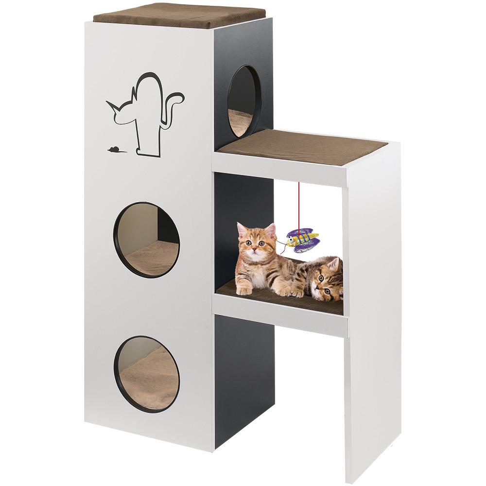 Домик для кошек с полочками с когтеточкой и игрушкой-мячиком Napoleon Ferplast