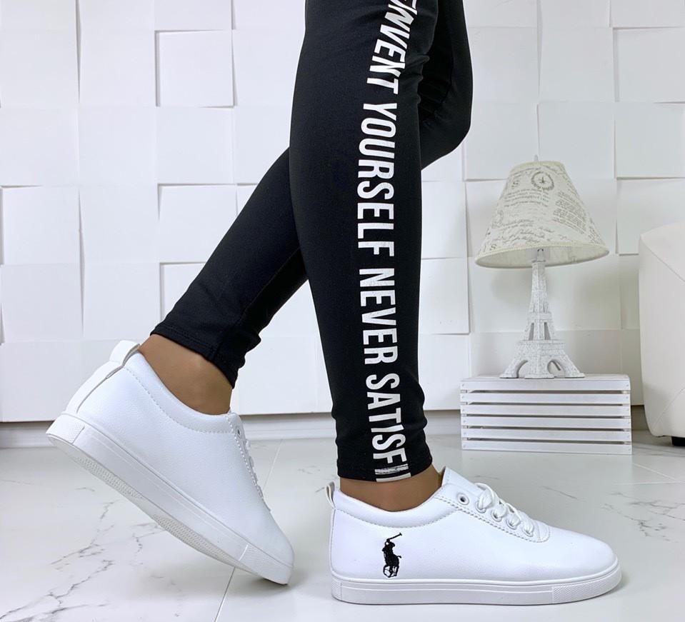 Кеды женские белые на шнуровке, фото 3