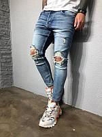 Мужские стильные джинсы, с дырками (светло-синие)