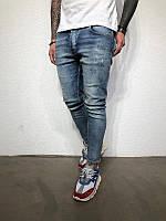 Мужские стильные джинсы, с потертостями (светло-синие)
