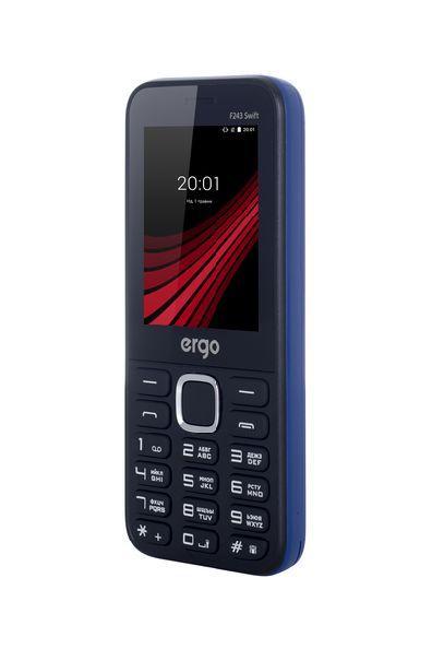 Кнопочный мобильный телефон с мощным аккумулятором на 2 сим карты Ergo F243 Swift синий