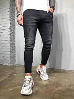 Мужские стильные джинсы, с потертостями (черные)