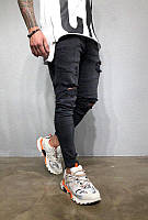 Мужские стильные джинсы, с дырками (черные)
