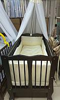 """Дитяче ліжечко Дубик """"Хвилька """" венге з відк.боковинкою та шухлядою."""