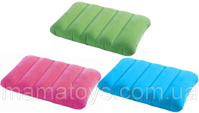 Подушка  надувная Интекс Intex 68676 размер 43-28-9 см, водоотталкивающая поверхность,3 цвета
