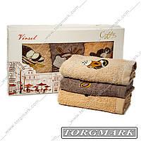 Кухонный набор махровых  полотенец (Coffe)  30х50 см 3 шт в наборе.