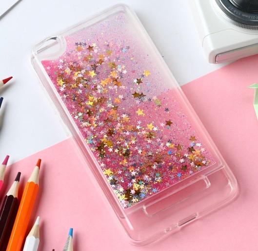 Чехол Glitter для Xiaomi Redmi 4a Бампер Жидкий блеск звезды розовый