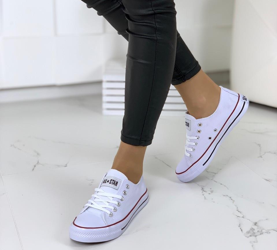 Кеды женские белые на шнуровке Конвер