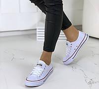 Кеды женские белые на шнуровке Конвер, фото 1