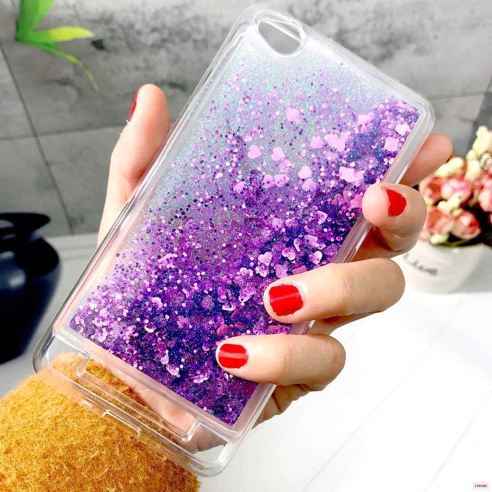 Чехол Glitter для Xiaomi Redmi 5a Бампер Жидкий блеск фиолетовый