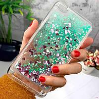 Чехол Glitter для Xiaomi Redmi 5a Бампер Жидкий блеск бирюзовый