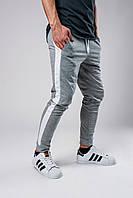 Спортивные штаны мужские весенне/осенние с белыми лампасами, цвет серый, фото 1