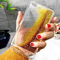 Чехол Glitter для Xiaomi Redmi 5a Бампер Жидкий блеск золотой