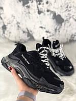 Женские кроссовки Balenciaga Triple S Clear Sole Black, женские черные кроссовки баленчиага трипл с, фото 1