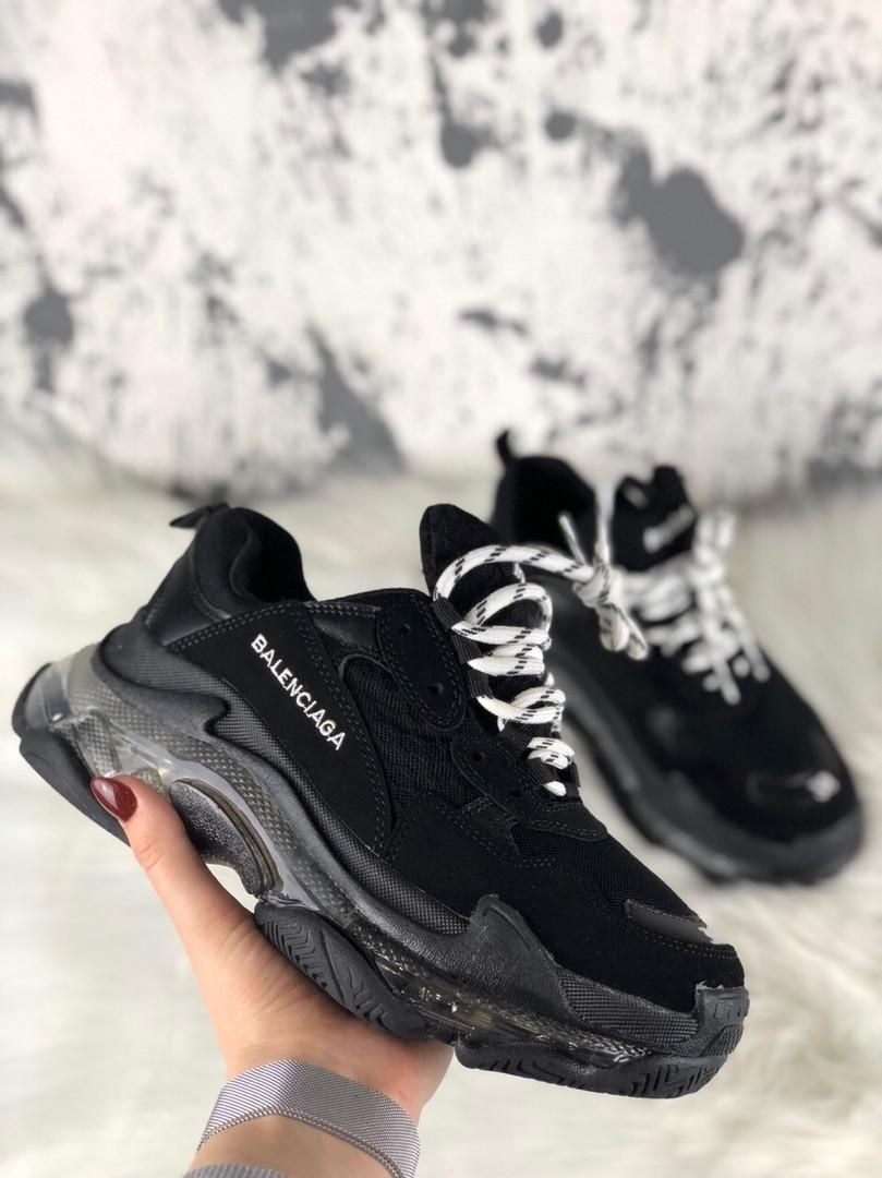 Женские кроссовки Balenciaga Triple S Clear Sole Black, женские черные кроссовки баленчиага трипл с