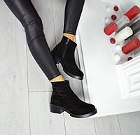 Демисезонные замшевые черные ботинки на удобном каблуке, фото 1