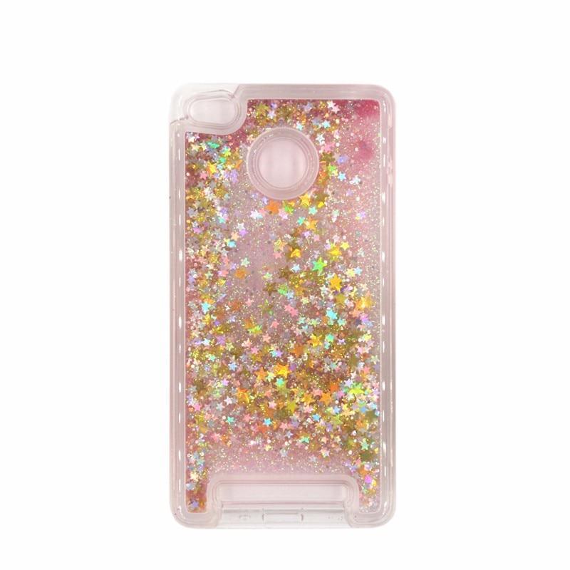 Чехол Glitter для Xiaomi Redmi 3s / 3 Pro Бампер Жидкий блеск звезды розовый