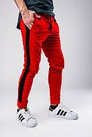 Спортивные штаны мужские весенне/осенние с черными лампасами, цвет красный, фото 1