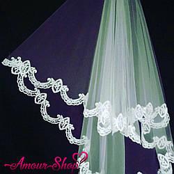 Фата свадебная кружевная для невесты белая, айвори