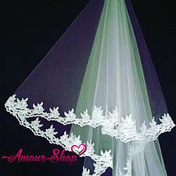 Фата свадебная кружевная для невесты белая, айвори, NF-101