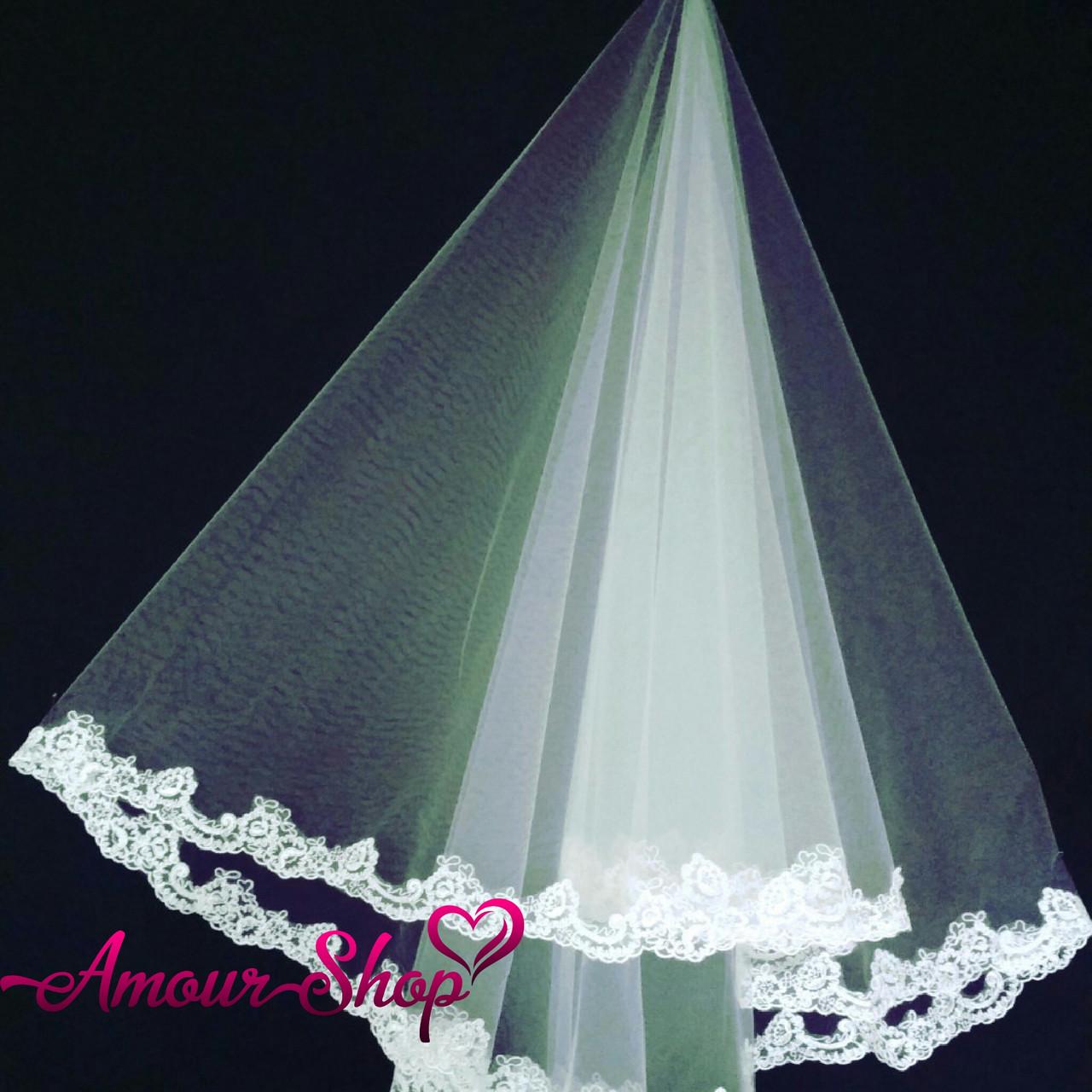 Фата свадебная кружевная для невесты белая, айвори, NF-102