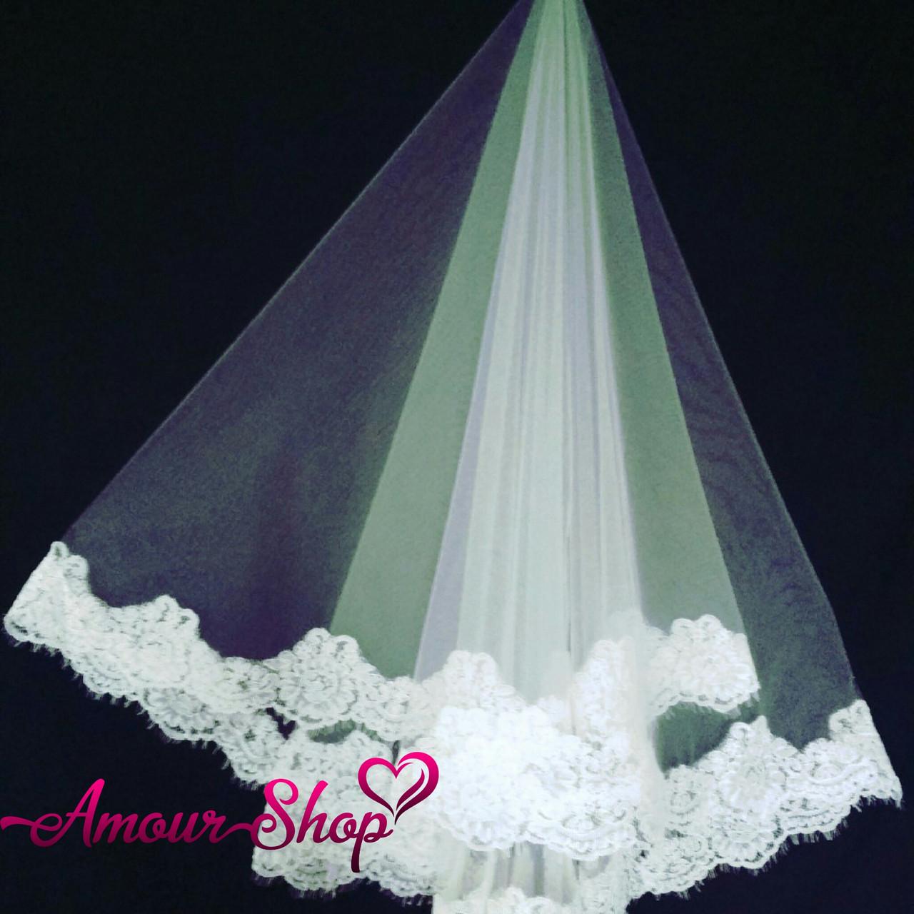 Фата свадебная кружевная для невесты  айвори NF-103