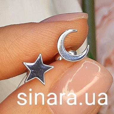 Серебряные серьги гвоздики Луна и Звезда - Минималистичные серьги Moon&Star серебро 925