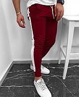 Спортивные штаны мужские весенне/осенние с белыми лампасами, цвет бордовый, фото 1