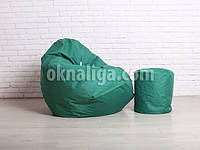 Кресло груша большая + Пуф |  зеленый Oxford