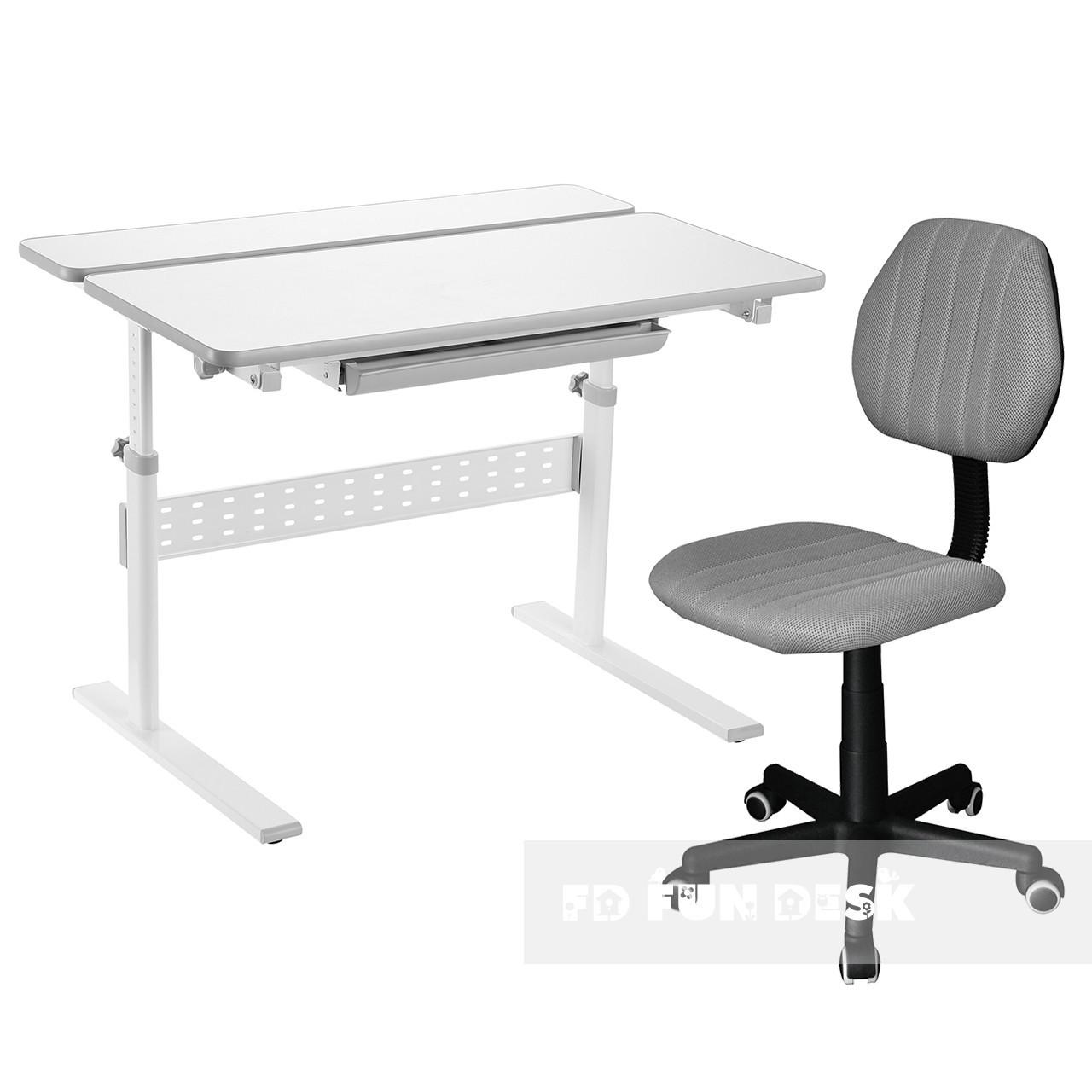 Комплект парта Colore Grey + детское компьютерное кресло LST4 Grey FunDesk