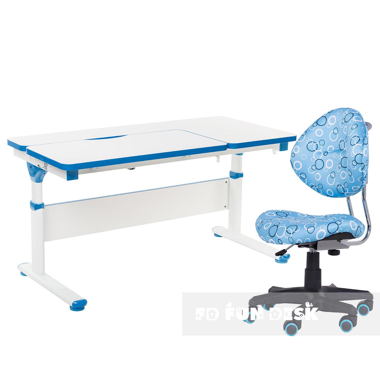 Комплект парта Creare Blue с надстройкой + детское ортопедическое кресло SST5 Blue FunDesk