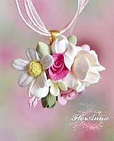 """Кулон с цветами из полимерной глины """"Аромат весны"""". Подарок девушке"""