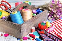 Швейная фурнитура( ткани, нити, наполнитель)