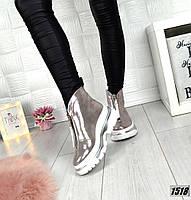 Демисезонные перламутровые кожанные ботинки спортивного стиля, фото 1