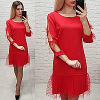Платье женское, креп+сетка, арт.154, цвет - красный