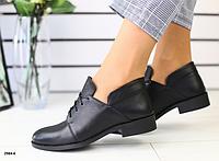 Туфлі жіночі шкіряні чорні на шнурках, фото 1