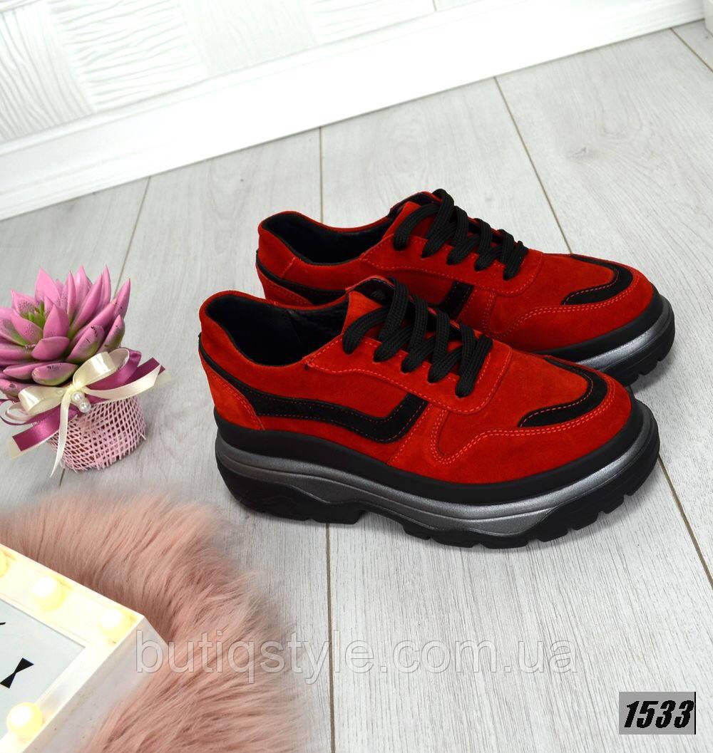 Красивые женские красные кроссовки Balencia_ga натуральный замш