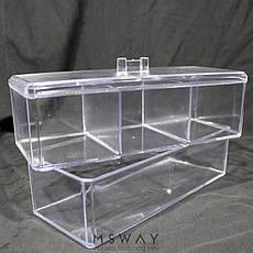 Подставка 0886 два блока с крышкой для кистей, аксессуаров, ватных дисков, фото 3