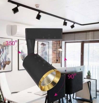 Светодиодный трековый прожектор AL-111 18W 3000К черный-золото Код.59497, фото 2