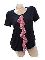 Блуза Ирма черная с контрастным шифоновым воланом