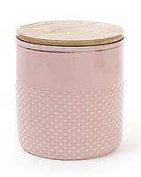 Банка Gold Star-108 для сыпучих продуктов 1000мл с бамбуковой крышкой, розовая