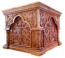 Резной престол под лак с арками 125х125см