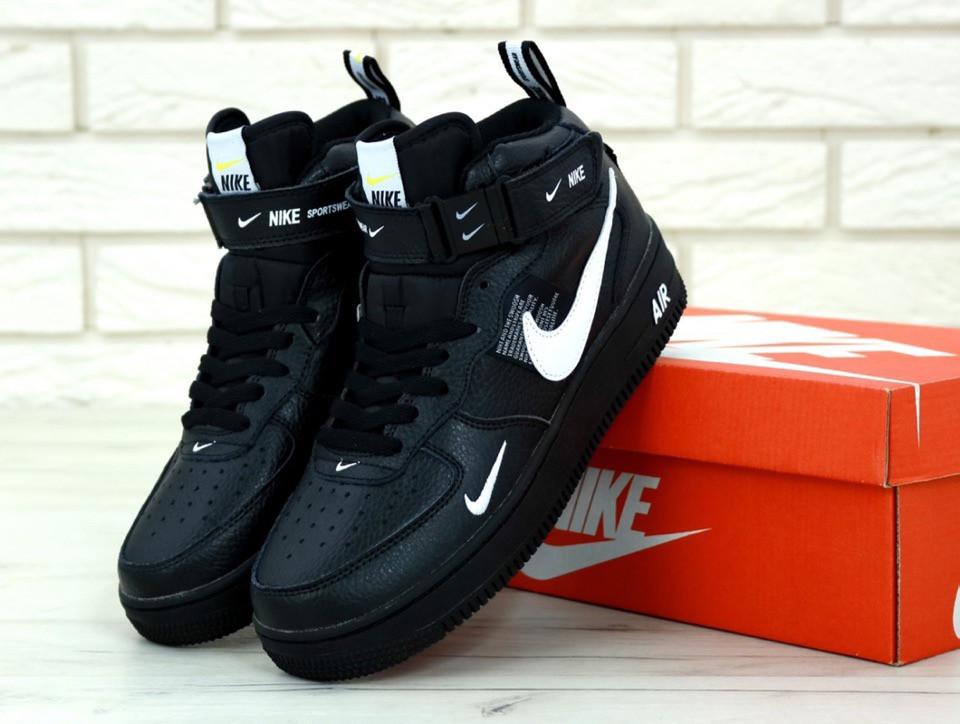 Мужские кроссовки Nike Air Force 1 Mid 07 L.V.8 Utility Pack Black. ТОП Реплика ААА класса.