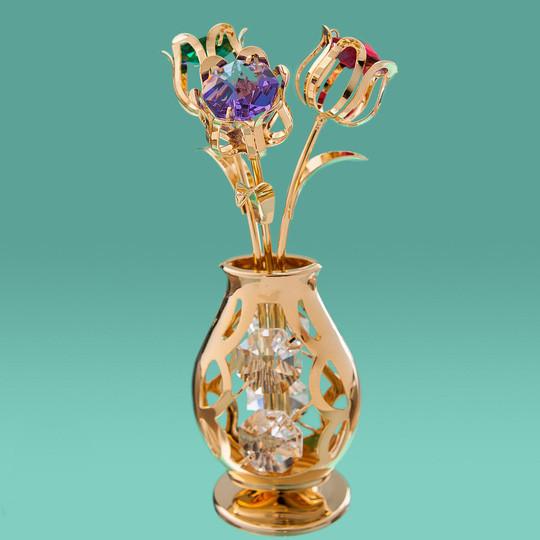 """Фігурка """"Ваза з квітами"""" Crystocraft з кристалами Swarovski (10,5 см), 0212-001/GA2"""